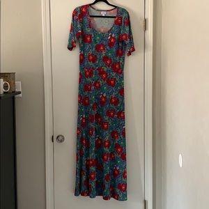 Lularoe Ana Maxi Dress Blue Red Floral Size XL